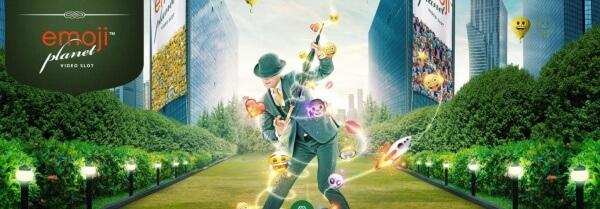 Mr Green på en gata fylld av smileys lanserar nya Emoji planet